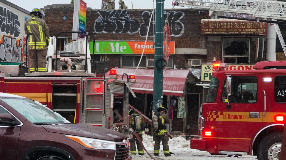 Toronto Fire blocks the scene of a fire in Chinatown on February 6, 2019.