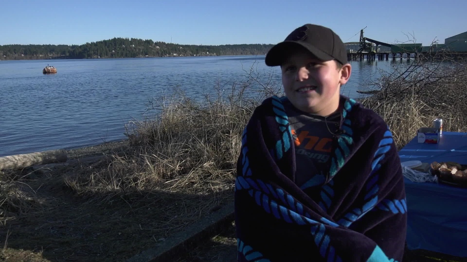Sylas Thompson, 11, of Campbell River is trying to raise $30,000 for local charities by plunging into a polar bear swim every day, Wednesday, Feb. 6, 2019. (CTV Vancouver Island)