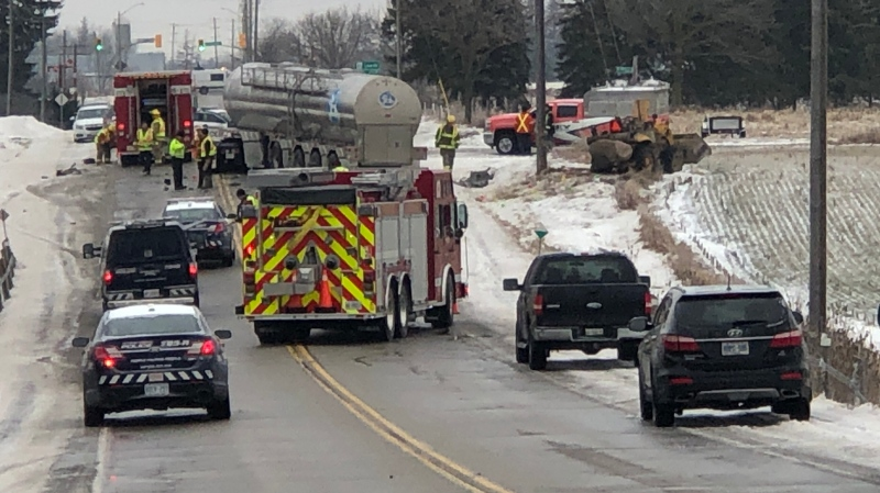 Police say one person was taken to hospital with serious injuries after a crash in Woolwich. (Leighanne Evans / CTV Kitchener)