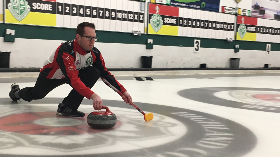 Scott McDonald practices for the Canadian curling championship in London, Ont. on Wednesday, Feb. 6, 2019. (Brent Lale / CTV London)