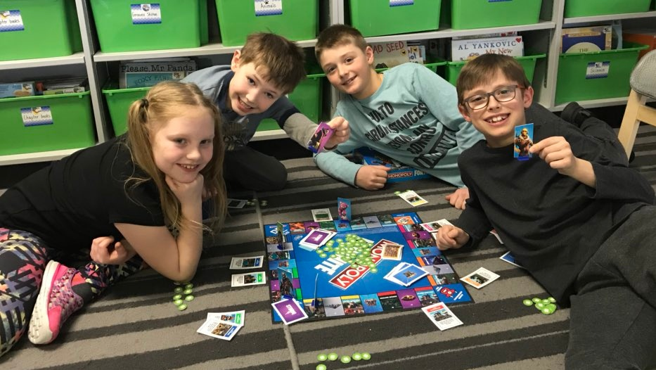 Students at Bishop Filevich play Monopoly: Fortnite Edition during an indoor recess on Feb. 6, 2019. (Stephanie Villella/CTV Saskatoon)