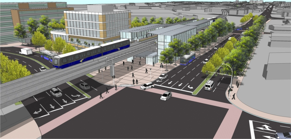 An artist's rendering of a possible SkyTrain station on the Surrey-Langley extension. Source: TransLink