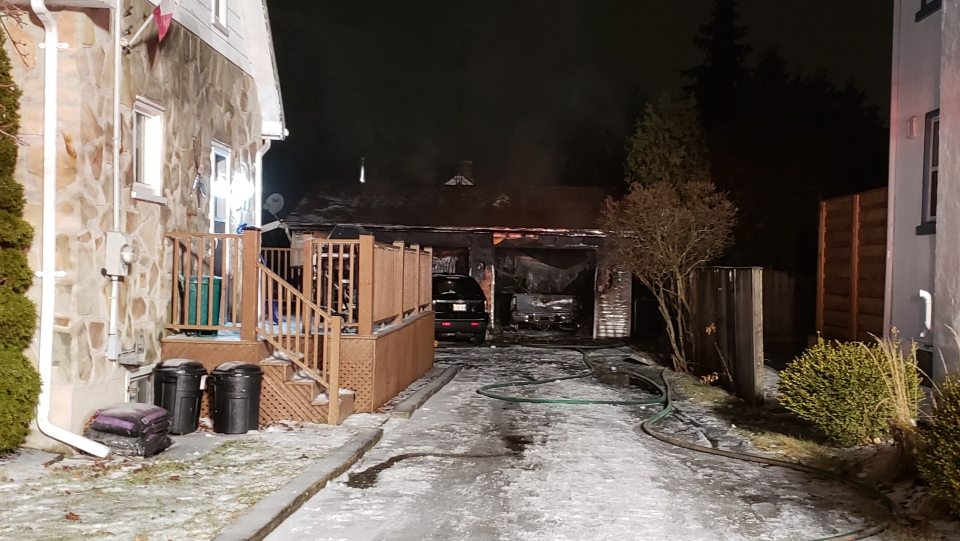 The aftermath of a garage fire. Neighbours tell CTV that they heard an explosion. (Scott Clarke / CTV Kitchener)