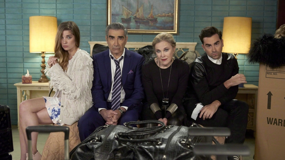 Annie Murphy as Alexis Rose, left to right, Eugene Levy as Johnny Rose, Catherine O'Hara as Moira Rose and Dan Levy as David Rose in CBC's comedy Schitt's Creek pose in an undated handout photo. (THE CANADIAN PRESS/HO)