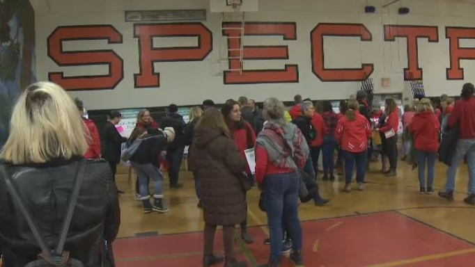 There was a large turnout at Spectrum Community School as the district invited parents to give feedback on proposed catchment changes, Wednesday, Feb. 6, 2019. (CTV Vancouver Island)