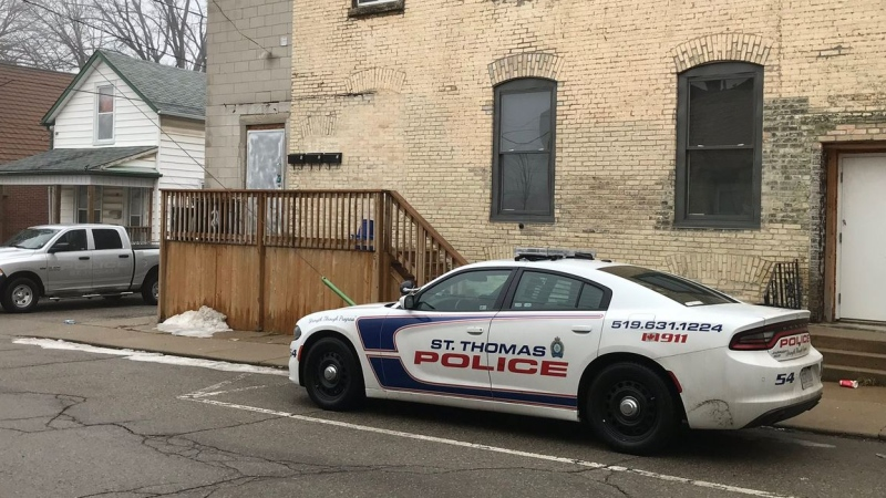 Police investigate after a man allegedly brandished an axe in St. Thomas, Ont. on Thursday, Feb. 7, 2019. (Sean Irvine / CTV London)