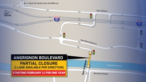 Traffic on Angrignon Blvd. will be limited as of Monday Feb. 11, 2019