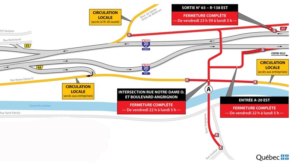 Angrignon interchange closures for weekend of Feb. 8, 2019