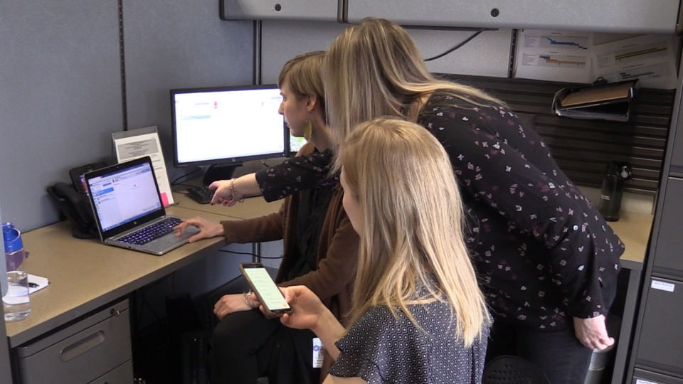 Researchers work on TELEPROM-Y, software to help support youth mental health, in London, Ont. on Thursday, Feb. 7, 2019. (Celine Moreau / CTV London)