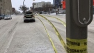 Roads were closed and buildings cleared of people Thursday after a contractor hit a pipe. (Photos: Gary Robson/CTV News.)
