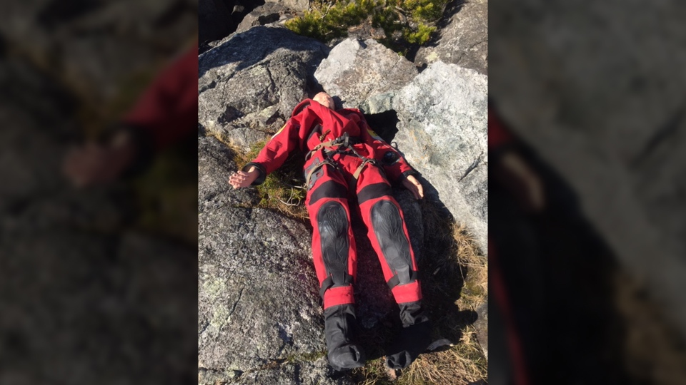 A Department of National Defence training dummy was mistaken for a dead body on a shoreline of Sooke Wednesday, Feb. 6, 2019. (RCMP Handout)