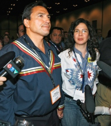 Assembly of First Nations national chief candidate Shawn Atleo, a Hereditary Chief from the Ahousaht First Nation in B.C., speaks to the media after getting the most votes on the first ballot at the AFN's annual general assembly in Calgary, Wednesday, July 22, 2009. (Jeff McIntosh / THE CANADIAN PRESS)