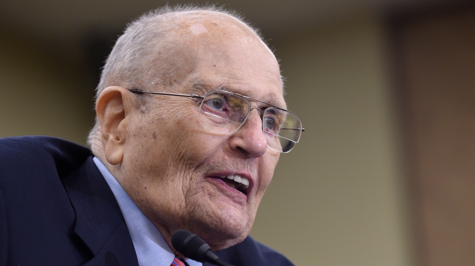 In this July 29, 2015 photo, former Rep. John Dingell, D-Mich., speaks at an event marking the 50th Anniversary of Medicare and Medicaid on Capitol Hill in Washington.(AP Photo/Susan Walsh)