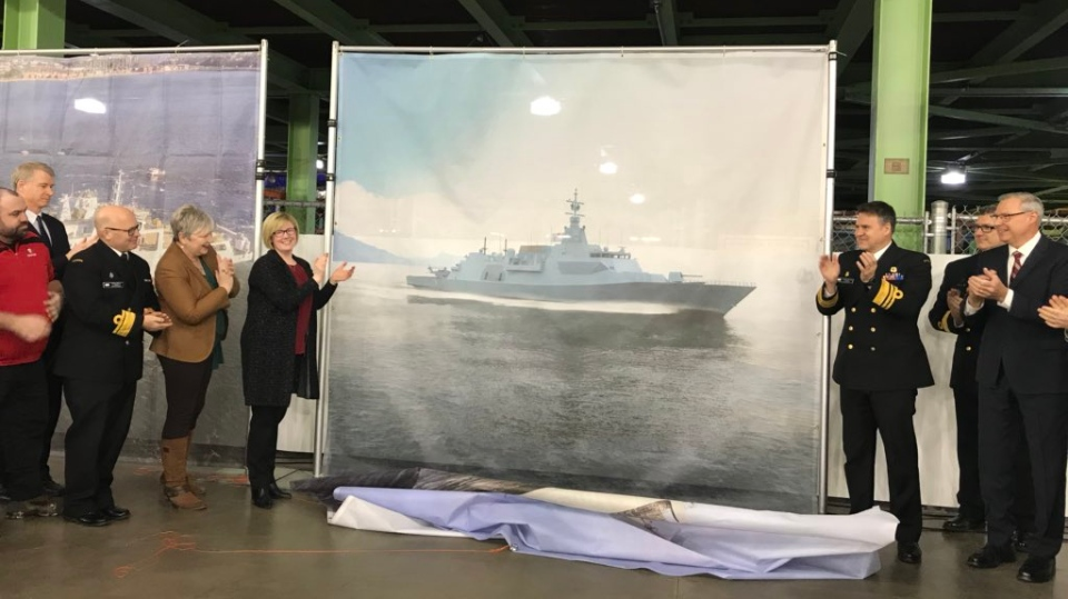 The design of the Royal Canadian Navy's 15 new warships is unveiled during an announcement at Irving Shipbuilding in Halifax on Feb. 8, 2019.
