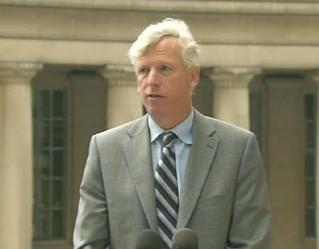 Toronto Mayor David Miller speaks outside of Union Station in Toronto, Friday, July 24, 2009.