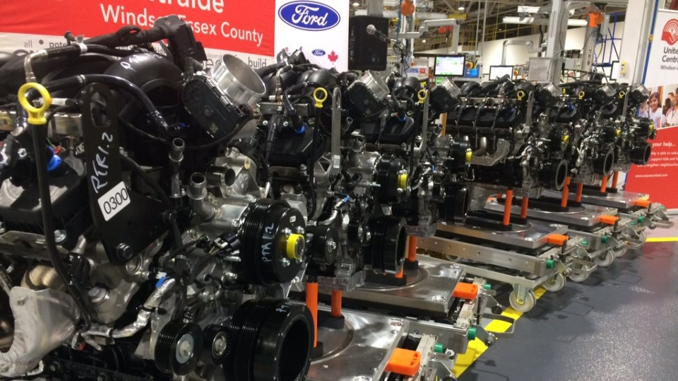 The new Ford V8 7.3 litre engine built in Windsor. (Stefanie Masotti / CTV Windsor)