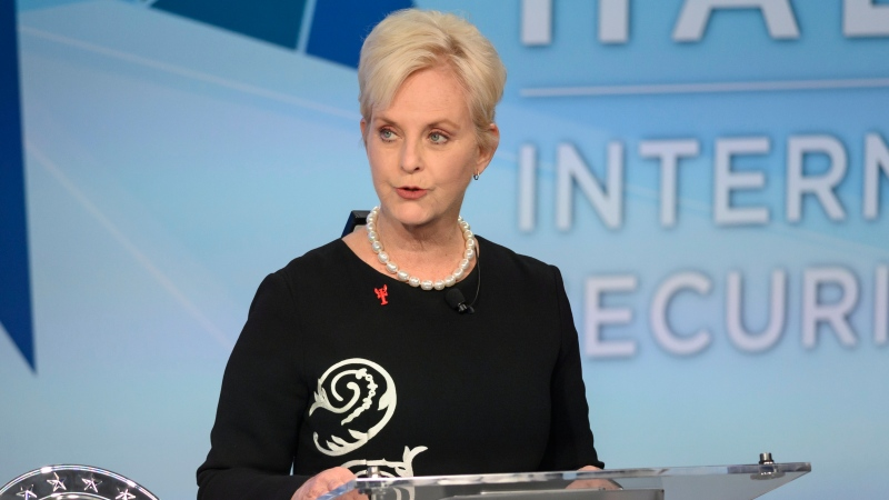 In this Nov. 17, 2018 file photo, Cindy McCain pauses while presenting the inaugural John McCain Prize for Leadership in Public Service to the People of the island of Lesbos, Greece at the Halifax International Security Forum in Halifax, Canada. (Darren Calabrese /The Canadian Press via AP)