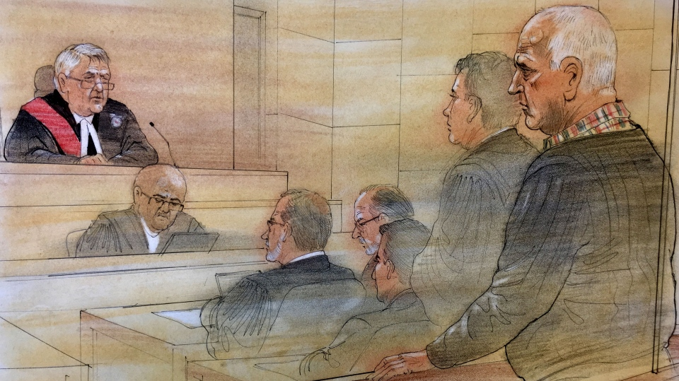 Bruce McArthur, far right, is sentenced in a Toronto court for the murders of eight men, Friday, Feb. 8, 2019. (John Mantha)