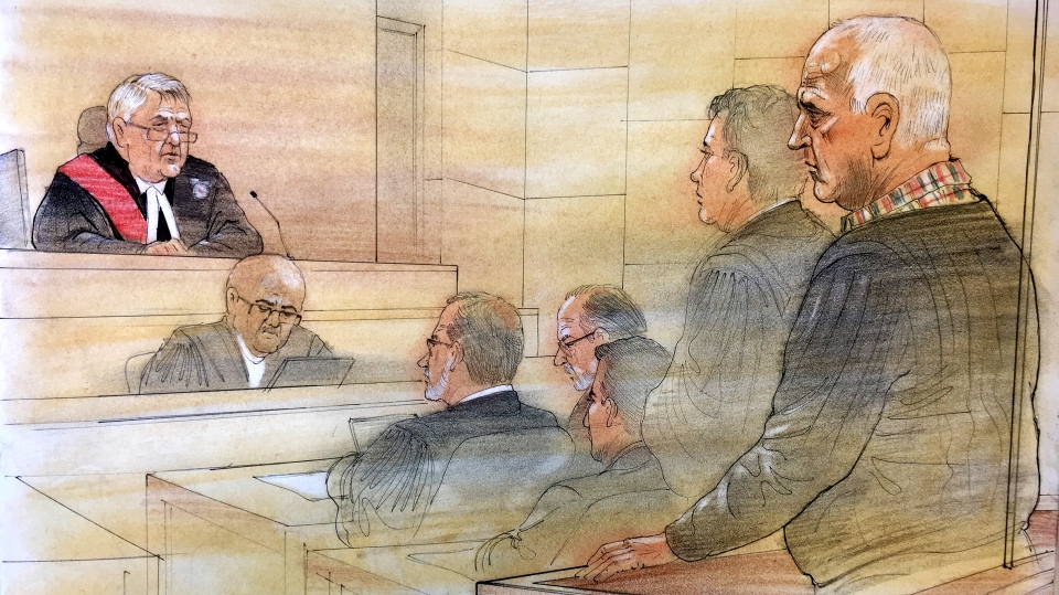 Convicted serial killer Bruce McArthur appears before Justice John McMahon on Feb. 8, 2019, where he was handed a lifetime sentence. (Sketch by John Mantha)
