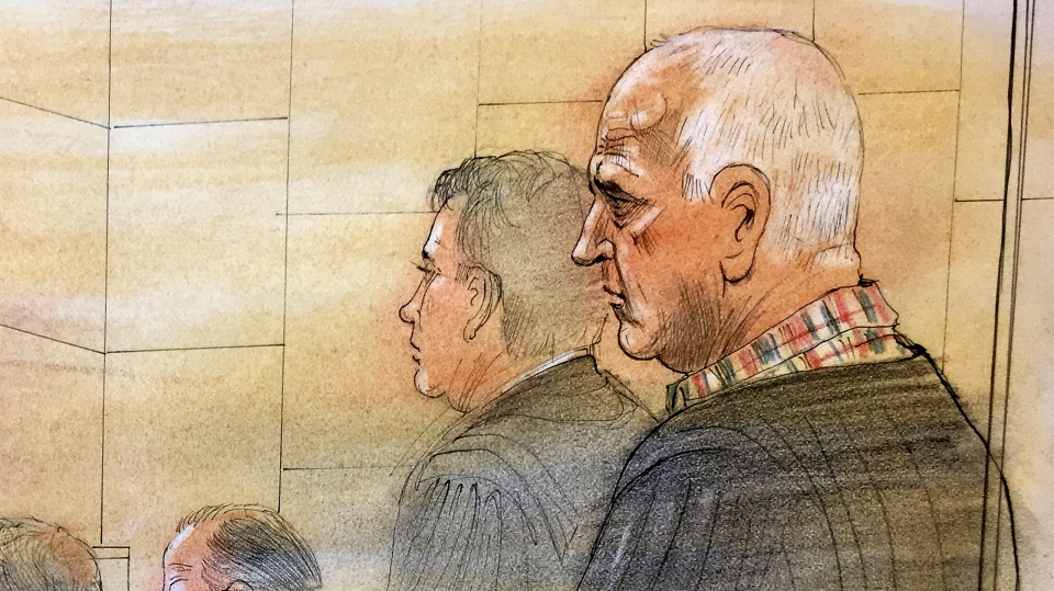 Bruce McArthur appears in court for his sentencing on February 8, 2019. (Sketch by John Mantha)