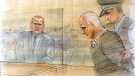 Serial killer Bruce McArthur appears in court during his sentencing on Feb. 8, 2019. (Sketch by John Mantha)