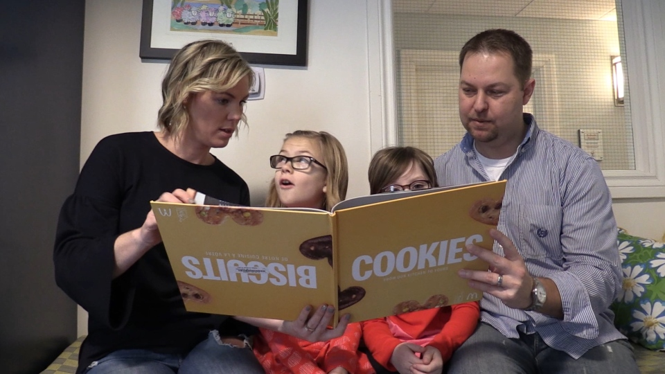 The Little family, Chas and Erin, along with their daughters Olivia and Harper, discuss their experience with the Ronald McDonald House in London, Ont. on Friday, Feb. 8, 2019. (Celine Moreau / CTV London)