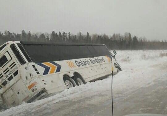 Ontario Northland bus in a Manitoulin Island ditch