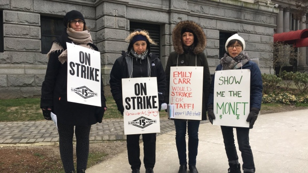 Striking workers are seen outside the art gallery