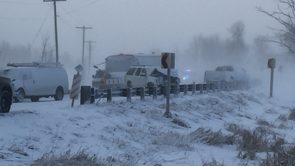 Six vehicles, including a school bus, were involved in the crash. (Dan Lauckner / CTV Kitchener)