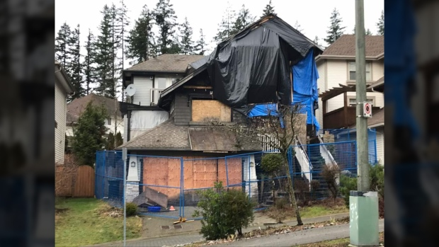 A burned-out home in Port Moody selling for more than $1 million is seen in this undated image.