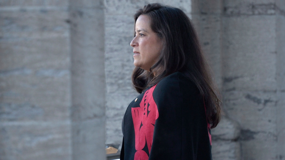 New veterans Affairs Minister Jody Wilson-Raybould addresses the media following a swearing in ceremony at Rideau Hall in Ottawa on Monday, Jan. 14, 2019. THE CANADIAN PRESS/Adrian Wyld