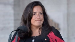 New Veterans Affairs Minister Jody Wilson-Raybould addresses the media following a swearing in ceremony at Rideau Hall in Ottawa on Monday, Jan. 14, 2019. (THE CANADIAN PRESS / Adrian Wyld)