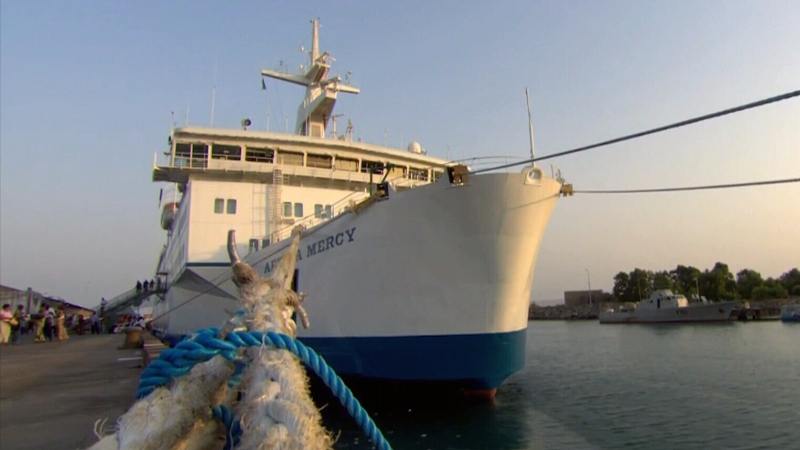 The Africa Mercy hospital ship sits moored in Conakry, Guinea in this undated photo.