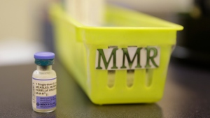 This Feb. 6, 2015, file photo, shows a measles, mumps and rubella vaccine on a countertop at a pediatrics clinic in Greenbrae, Calif.  (AP Photo/Eric Risberg, File)