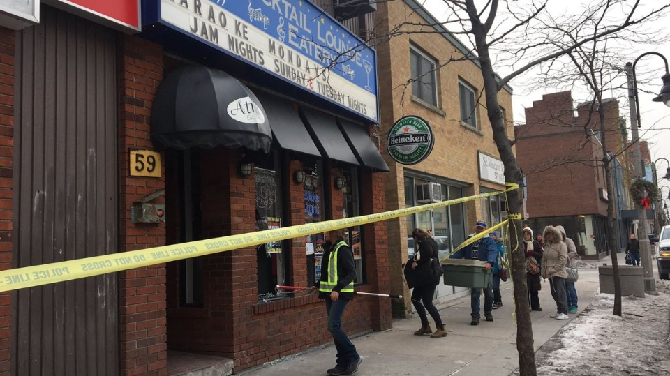 The scene where a deer crashed through a bar's window in Oshawa, Ont., on Sunday, Feb. 10, 2019. (CTV Toronto / Miranda Anthistle)