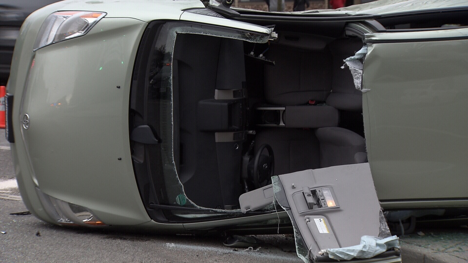Crews used the jaws of life to cut through the roof of the car, freeing the man.