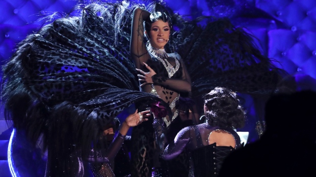"""Cardi B performs """"Money"""" at the 61st annual Grammy"""