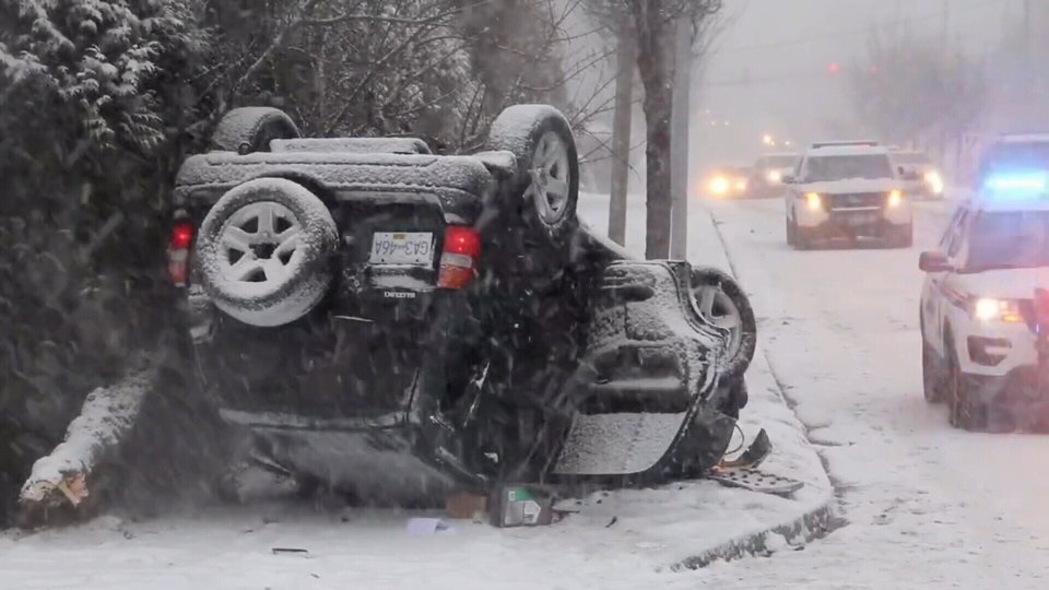 Crews responded to dozens of crashes and fender benders since the snow started falling on Sunday, Feb. 10, 2019.