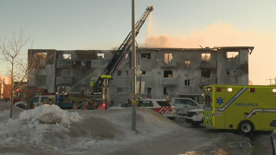 The Feb. 9 fire in Longueuil, Que. caused so much damage that the apartment building was demolished. (CTV Montreal)