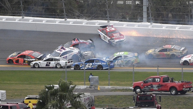 A multi-car pileup during the NASCAR Clash