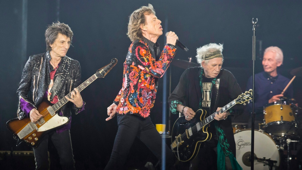 Ronnie Wood, left to right, Mick Jagger, Keith Richards and Charlie Watts of the Rolling Stones perform during the concert of their 'No Filter' Europe Tour 2017 at U Arena in Nanterre, outside Paris, France, October 22, 2017. THE CANADIAN PRESS/AP, Michel Euler