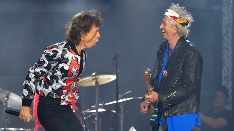 In this May 25, 2018 file photo, Mick Jagger, left, and Keith Richards, of The Rolling Stones, perform during their No Filter tour in London. (Photo by Mark Allan/Invision/AP, File)