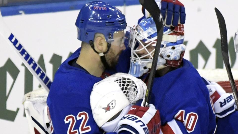 New York Rangers goaltender Alexandar Georgiev (40) celebrates with Kevin Shattenkirk (22) after the Rangers defeated the Toronto Maple Leafs 4-1, on Feb.10, 2019. (Bill Kostroun / AP)