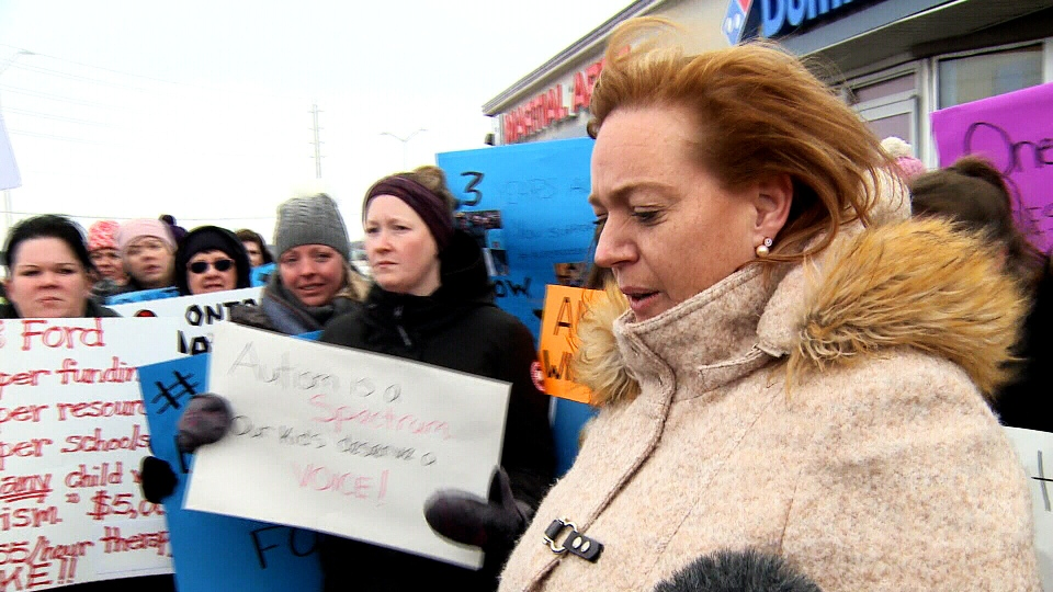 Lisa MacLeod faces furious parents in Ottawa on Feb. 8, 2019, days after announcing sweeping changes to the province's autism funding plan.