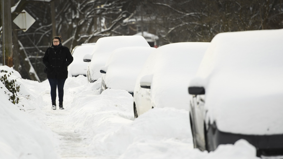 A women walks by snowed-in cars after Toronto and most of southern Ontario got hit by a storm in Toronto on Tuesday, January 29, 2019. THE CANADIAN PRESS/Nathan Denette