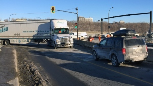 When 18-wheelers come along, the Angrignon overpass is only one lane in each direction (CTV Montreal/Jean-Luc Boulch)