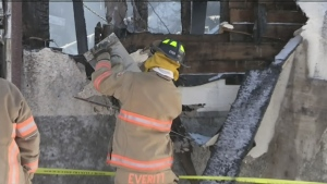 Crews assess the damage after rip destroys a vacant building in Bradford, Ont. on Saturday, Feb. 9, 2019 (CTV News)