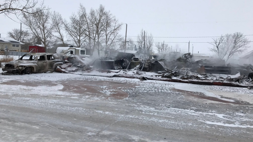 The remains of a home in Belle Plaine after a fire on Monday morning. (Stefanie Davis/CTV Regina)