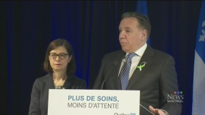 Francois Legault and Danielle McCann at Pierre Le Gardeur hospital in Terrebonne on Feb. 11, 2019