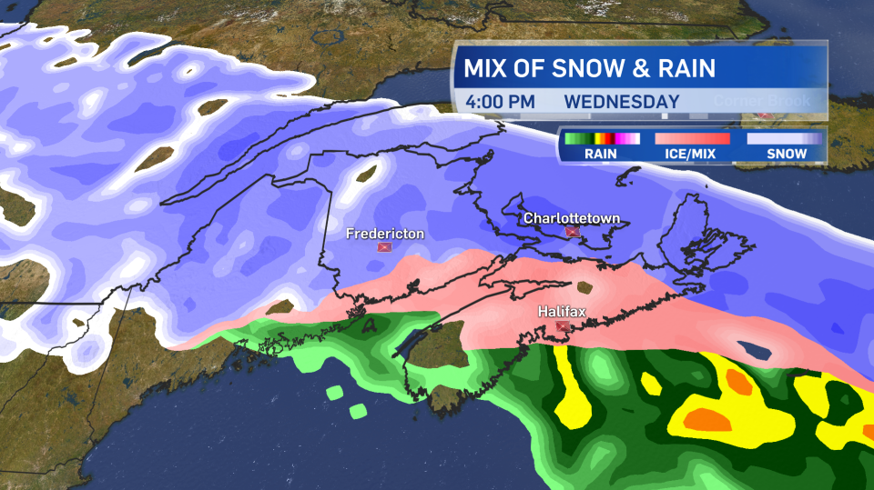 The storm will switch from snow to ice pellets or rain on Wednesday afternoon in some southern parts of the Maritimes